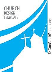 Church Silhouette Template Flat Design Vector.