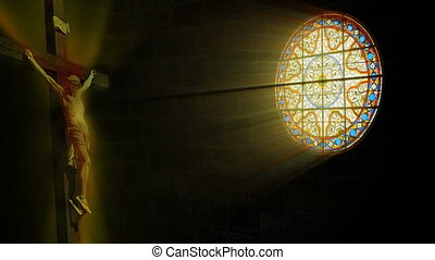 Church stained glass and Jesus, sun