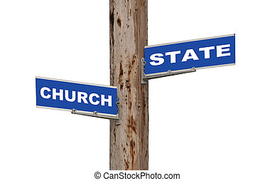 Street sign concepts church and state isolated