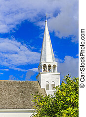 Church Steeple - Details of a church steeple against a...