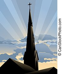 Silhouette type illustration of a church steeple at sunrise.