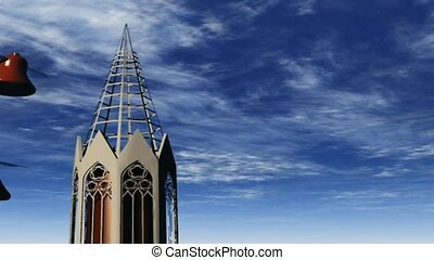 Church steeple with flying bells