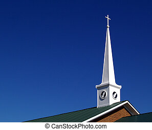 Church Steeple with Praying Hands a - Church steeple with...