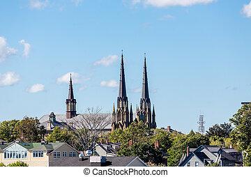 Old Church steeples in Charlottetown, Prince Edward Island