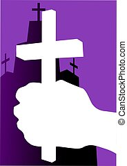 Church - Illustration of a cross in hand