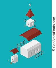 Church Structure parts Isometrics Catholic Christian house religion. Vector illustration