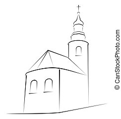 Church symbol - Structure of church on simple sketch
