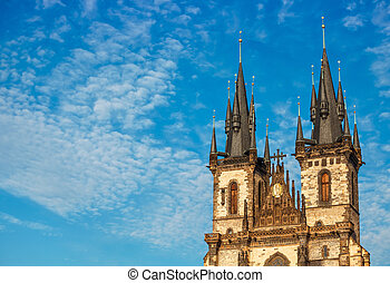 church top of Our Lady before Tyn in Prague