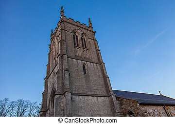 Church tower and blue sky