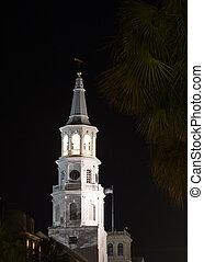 church tower at night Charleston