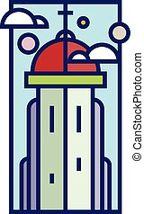 Flat line style vector illustration of a church tower with cross sign and clouds