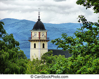 Church, tower, among the trees