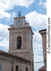 Church tower in the city of nicotera, Calabria, Italy