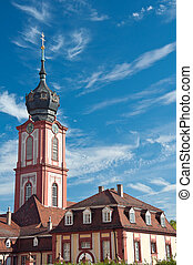 Church tower of the castle in Bruchsal, Germany - Hofkirche,...