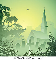 Church - A Misty Landscape with Church and Graveyard