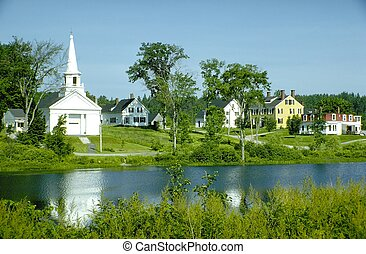 Church village - New England church and village