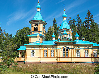 Church with a blue roof on the island of Valaam