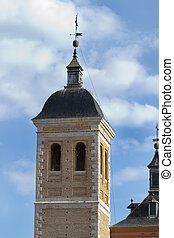 church with bell tower, typical Spanish