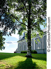 Church with birch tree