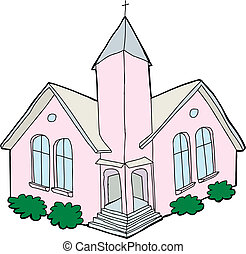 Pink church with cross on steeple over white