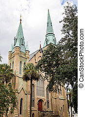 Church with Green Steeples and Red Doors