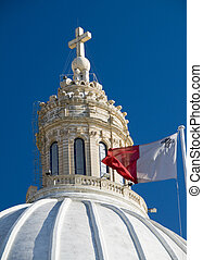 church with maltese flag malta detail - malta church dome...