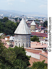Churches and domes of Tbilisi, view to historical part of the capital of Republic of Georgia