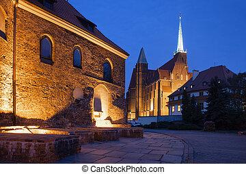 Churches in Ostrow Tumski by Night in Wroclaw