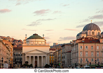 Churches in Trieste - View of St. Antonio church and...
