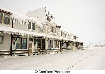 Churchill, Manitoba, Canada train station in the winter with long icicles on the roof