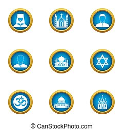 Churchman icons set, flat style - Churchman icons set. Flat...