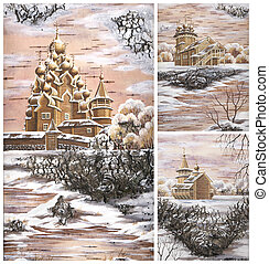 Churchs, Kizhi, Russia, set - Churchs from memorial estate ...