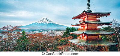 chureito, fuji, monte, pagoda, otoño