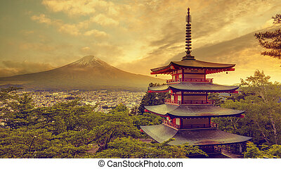 Chureito pagoda and Mount Fuji at sunset, Yamanashi, Japan...