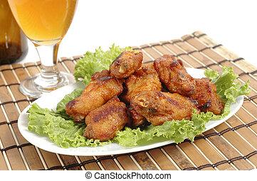 churrasco, asas galinha