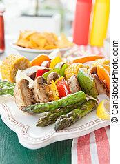 churrasco, coloridos,  skewers
