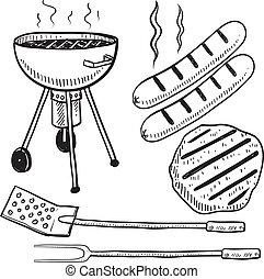 churrasco, equipamento, esboço, quintal