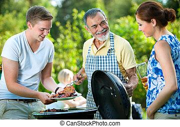 churrasco, tendo, partido família