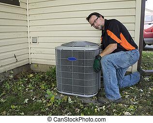 churrasqueira, ar, exterior, limpeza, condicionador, repairman, unidade