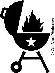 churrasqueira, com, chama, e, estrela, retro, ícone