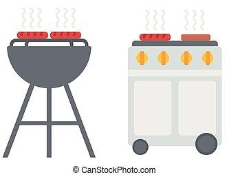 churrasqueira, grill., cobertura, chaleira, gás, churrasco