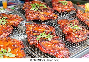 churrasqueira, rua, mercado carne