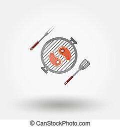 churrasqueira, símbolo., menu
