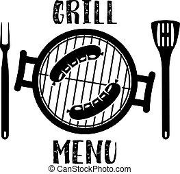 churrasqueira, símbolo, menu