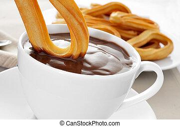 churros, con, chocolate, um, típico, espanhol, doce, lanche