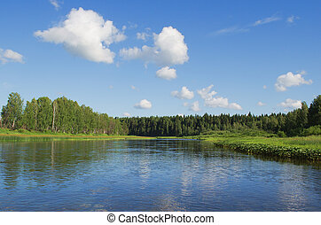 Chusovaya river in summer clear day. Russia