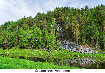 Chusovaya river in summer clear day. Ural. Russia.