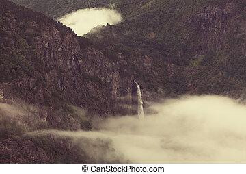 chute eau, dans, norvège