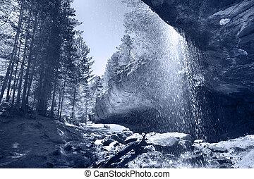chute eau, espagne, rochers, soria, forêt, paysage
