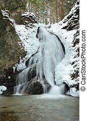 Chute eau, hiver, paysage